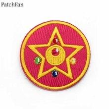A0373 Patchfan Новое прибытие Сейлор Мун R Розовая звезда вышитые железные на патчи эмблема на ткани Одежда DIY Patchworks