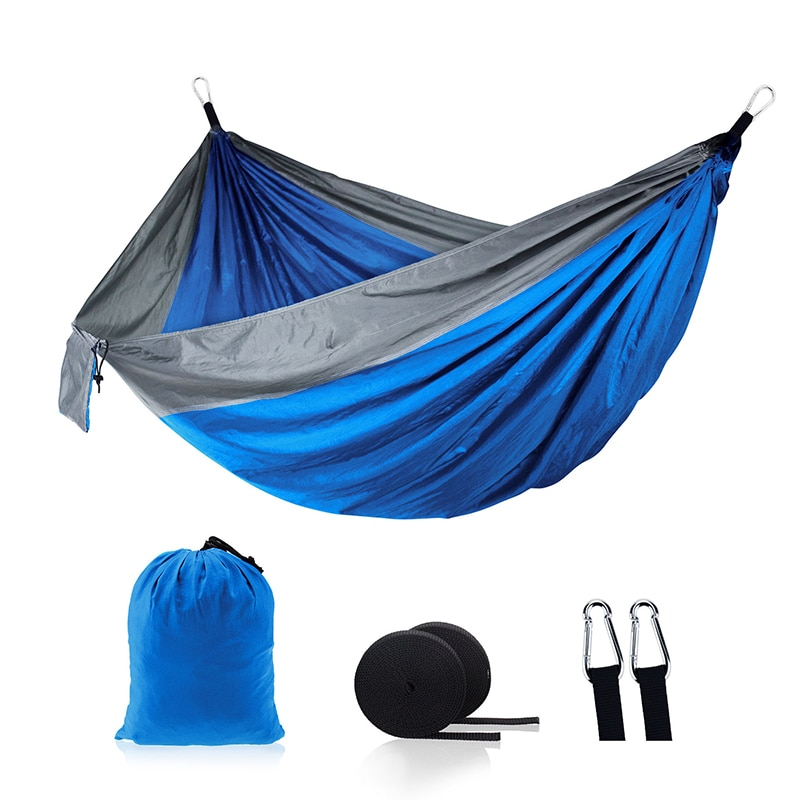 Hamaca de paracaídas portátil creativa para 2 personas persona doble hamaca de viaje hamaca de supervivencia para acampada jardín Flyknit caza hamaca de ocio
