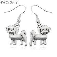Antique Boho Simple Maltese Dog Drop Earrings Big Long Unique Animal Earrings Gifts For Women Love Oorbellen India Jewelry 2018