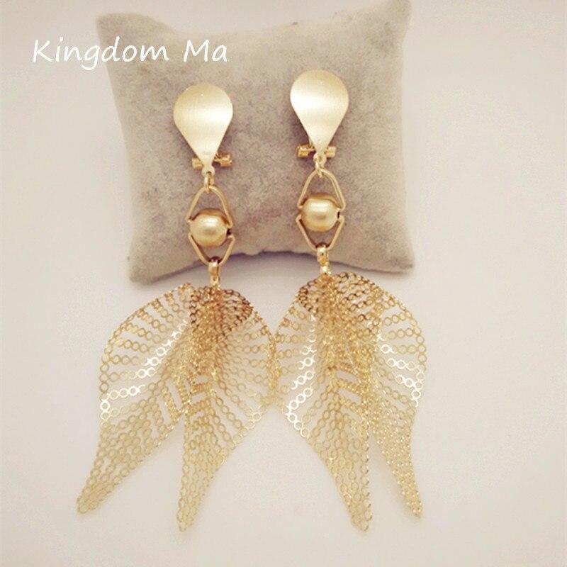 Reino ma frete grátis longo balançar brincos jóias na moda cor do ouro simples oco estrela folha brincos de casamento para presente feminino