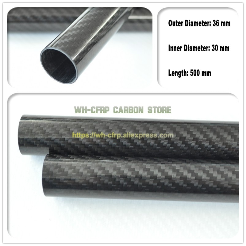 Tubo de fibra de carbono ID de 36mm ODx 30mm 3k 500MM de largo (enrollado) Tubo de carbono, con 100% carbono completo, Japón 3k material mejorado