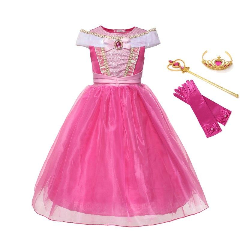 VOGUEON/костюм принцессы Авроры для девочек; Одежда для детей с открытыми плечами и длиной до щиколотки; Платье для косплея Спящей красавицы на ...