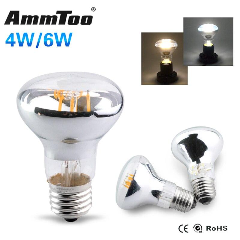 4 Watt 6 Watt R63 Led Glühlampe E27 LED Lampe Licht 85 v-265 v 110 v 220 v Silber Überzogenen Gehäuse Led spots 120 Grad Strahl winkel