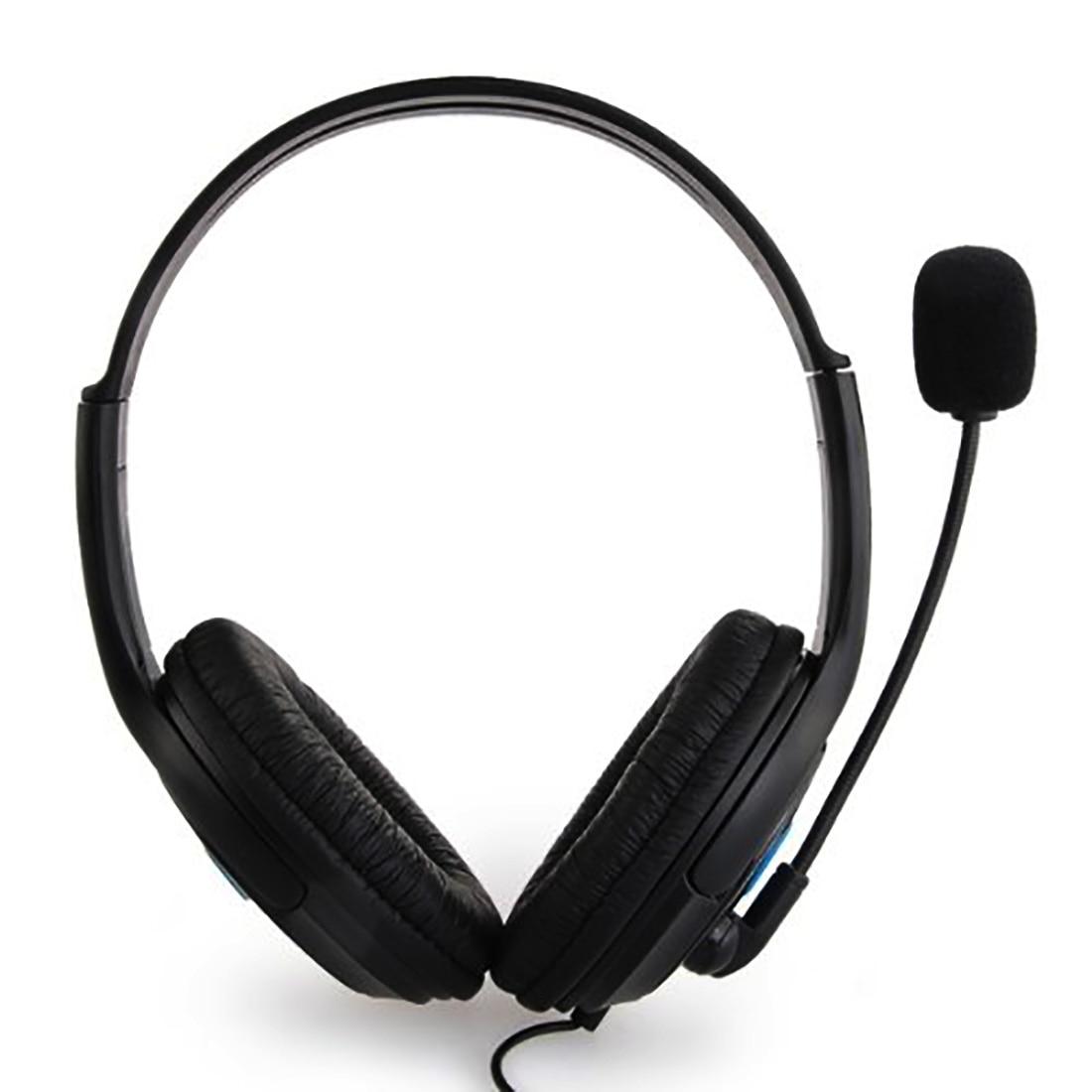 Marsnaska incrível dupla grande orelha com fio gaming chat fone de ouvido microfone para sony playstation 4 ps4 preto