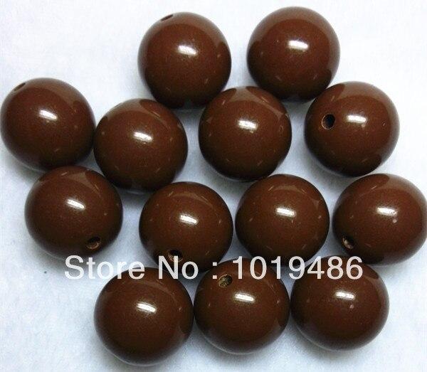 Lote de 105 unidades de cuentas gruesas de goma de mascar de 20MM de Color marrón, cuentas sólidas de acrílico, cuentas gruesas de colores para collar (B04)