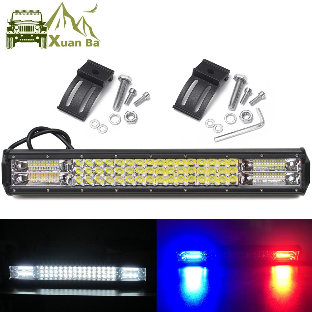 Led Bar 4x4 Offroad Pod Lights For Car Off road Van Truck SUV ATV Trailer 4WD White Red Blue Flash Strobe Driving Warning Light