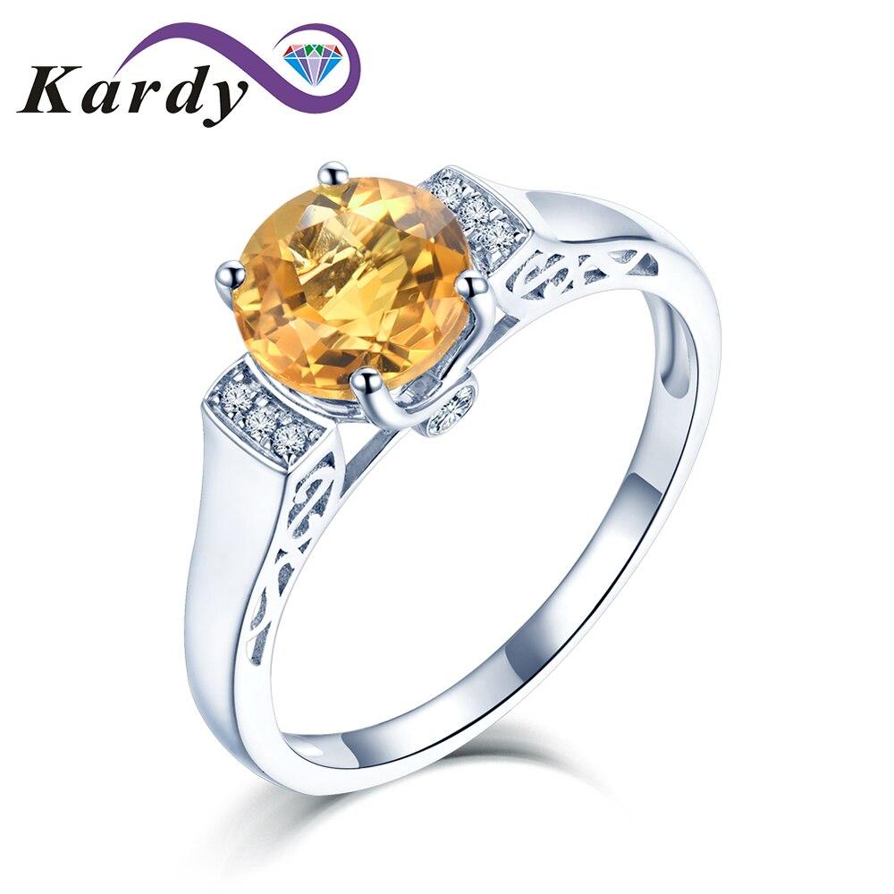 فريد خمر حقيقية الطبيعية سيترين للنساء 14K الذهب الأبيض الطبيعي الماس المشاركة خاتم الزواج موضة