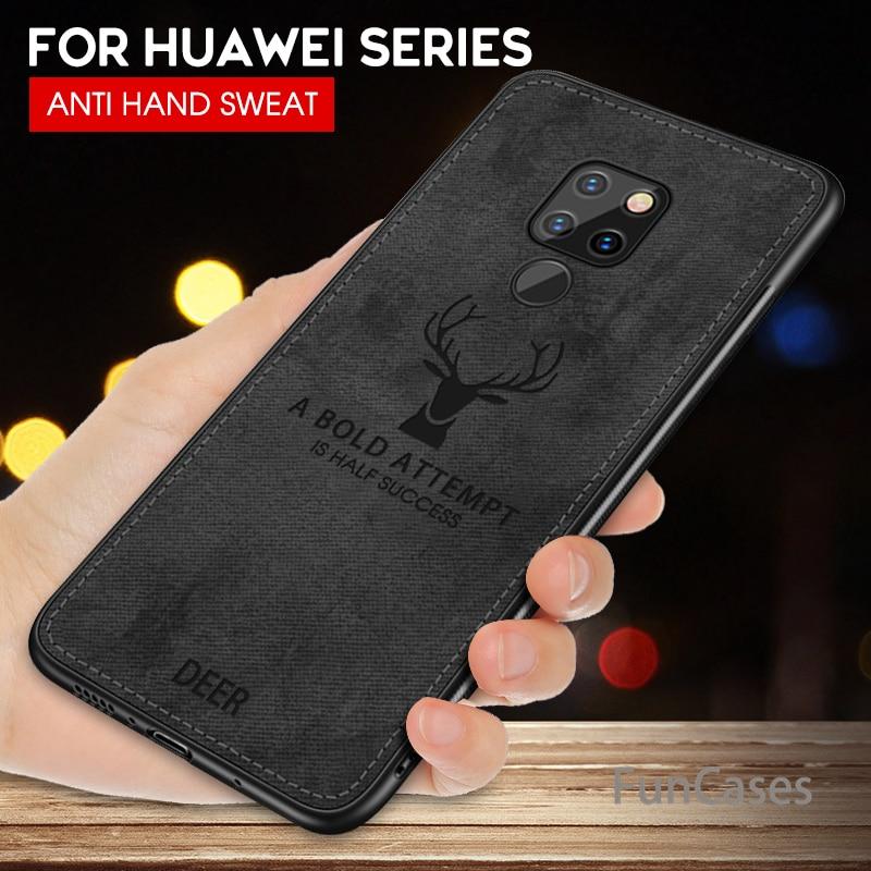 Funda de silicona de tela de ciervo frabrico para Huawei Mate 20 Lite Mate 10 Pro Texture 3D funda de teléfono en relieve para Huawei Mate 10 20 Coque