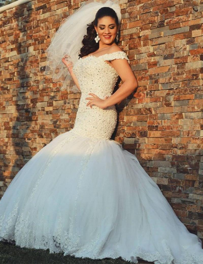 Vestido De novia con cuentas hombros caídos estilo sirena, Vestido De novia,...
