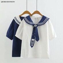 Femmes chemises école japonaise Preppy Style marin col marin lune imprimé cravate été chemise à manches courtes Blouses camisas