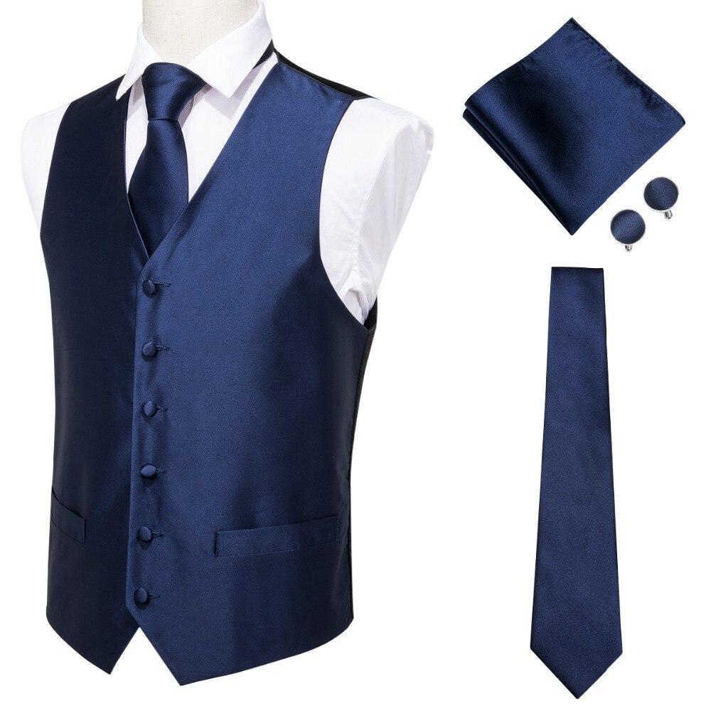 Мужской классический жилет Hi-Tie, Синий Шелковый жаккардовый жилет, носовой платок, запонки, вечерние, на свадьбу, однотонный жилет с галстуком, костюм, набор, MJ-0002