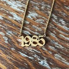 1985-2020 collares de fecha de boda para mujeres joyería de aniversario 2001 2002 2003 2004 2005 2006 2007 2008 collares de año de nacimiento BFF