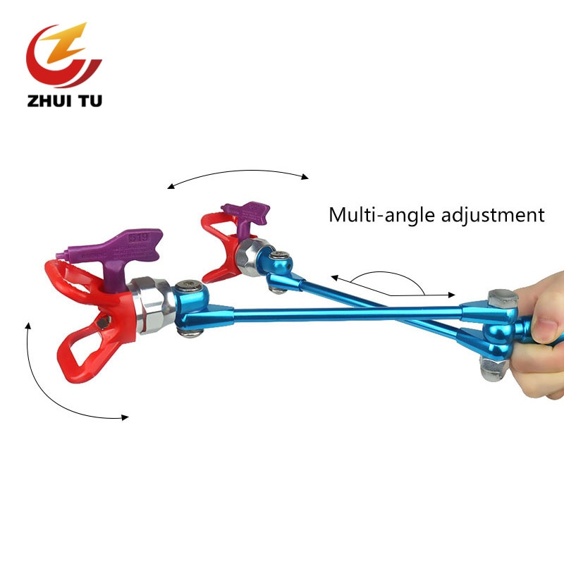 ZHUI TU Airless Spray Gun Profession Paint Painting Spraying Gun Adjustable Rotate Double Nozzle Guard Powerful Spraying Tool