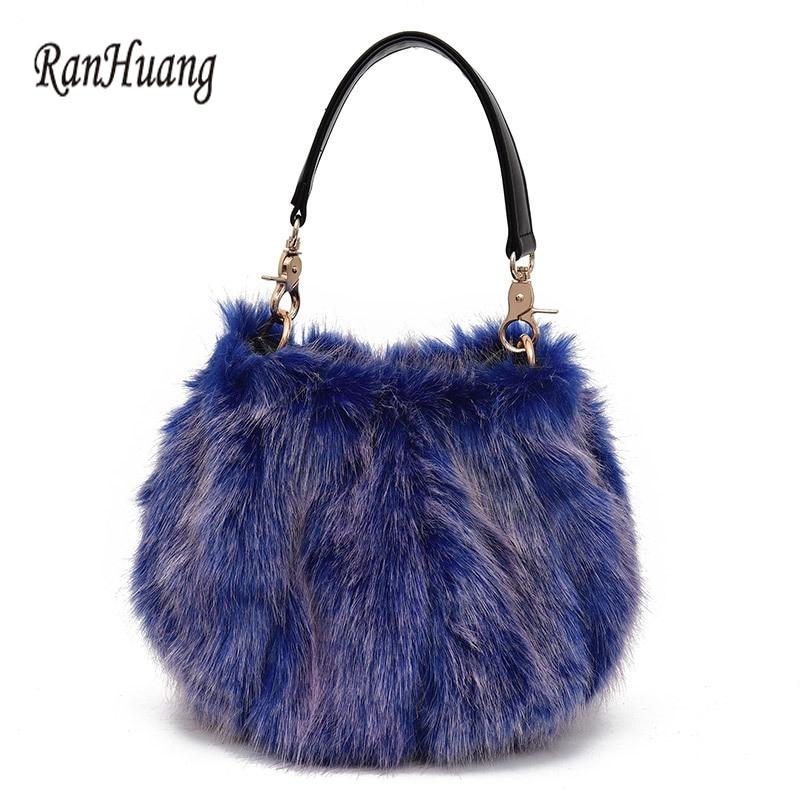 RanHuang 2017 зимние женские меховые сумки короткие сумки женские модные сумки на плечо маленькие сумки-мессенджеры A1060 bolsa feminina