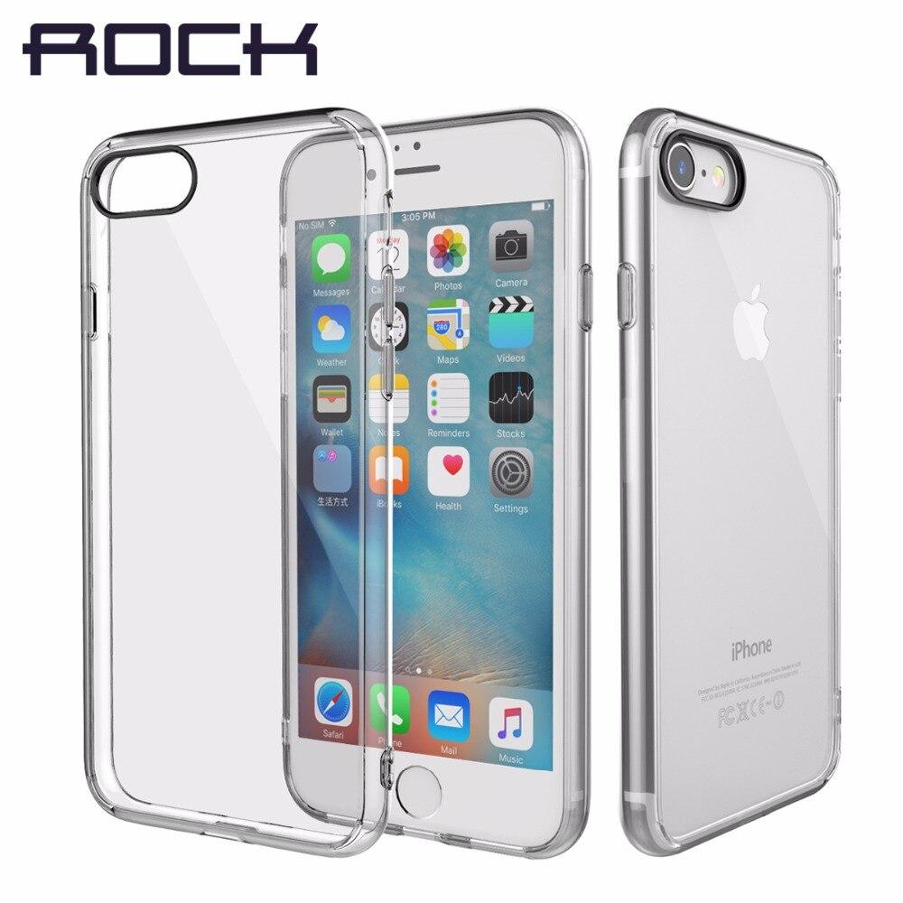 Carcasa para iPhone 7 8 8 Plus 7 Plus de la serie ROCK Pure, carcasa transparente de cristal transparente para iPhone 7 8