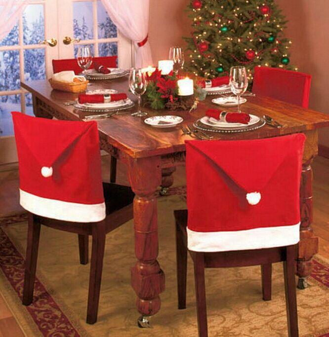 1 Pc rojo de Santa Claus sombrero comedor fundas de silla de...