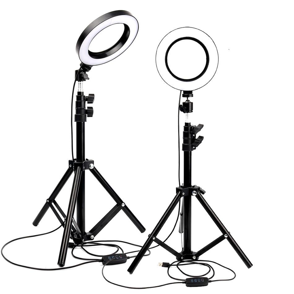 Fotografía regulable LED Selfie anillo luz Youtube Video Live 3500-5500k Luz de estudio fotográfico con soporte de teléfono USB Plug Tripod