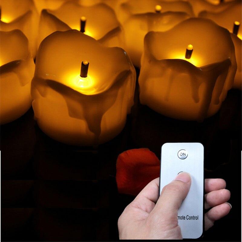 Pack de 6 o 12 velas LED amarillo parpadeante con control remoto, lámpara con forma de vela sin llama para actividades religiosas, velas a batería