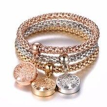 Bracelet à breloques en cristal 3 pièces arbre de vie hibou ancre Note de musique garçon fille coeur bracelets pour femme Pulseria Feminina bijoux cadeau