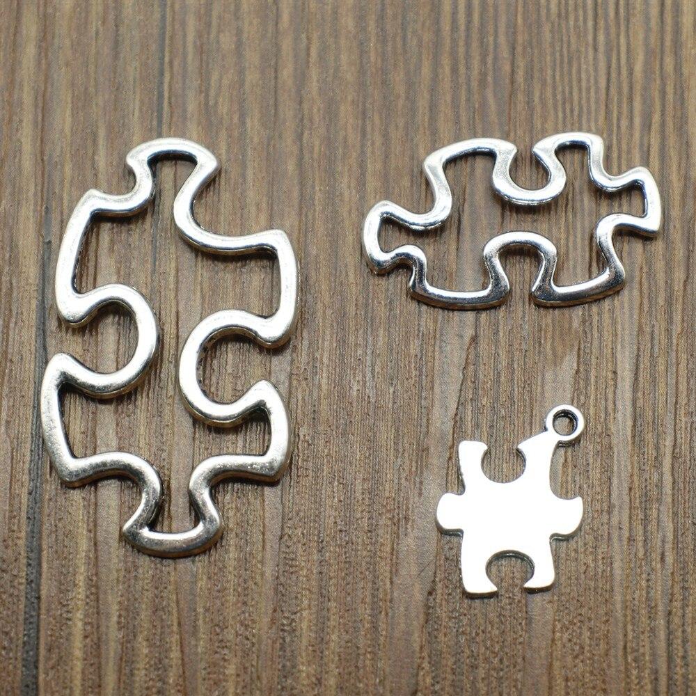 10 Uds antiguo tono de Color plata abalorios de piezas de puzle Conector colgante para fabricación de joyería DIY joyería encontrar joyas Accesorios