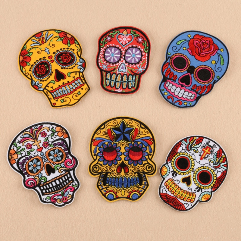 Embroidered punk badge rock patch Skull boy patch for  iron on Clothing embroidery applique Modify jeans Accessories