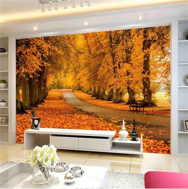 Papel de pared moderno con paisaje Natural de otoño rollo de papeles de pared de fotos 3D papel de pared de papel de pared personalizado 3d papel de pared dorado