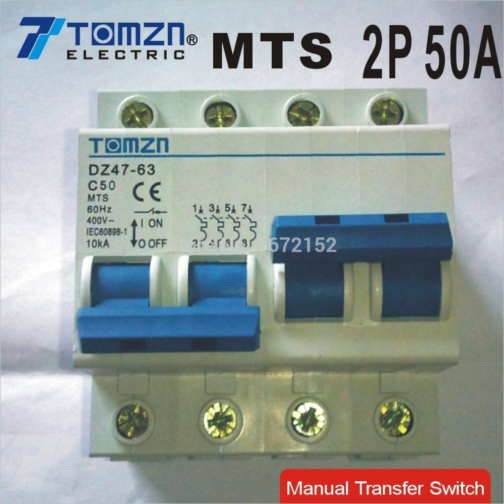 Interruptor de transferencia Manual de 2P 50A MTS Doble potencia MCB 50HZ/60HZ 400 ~