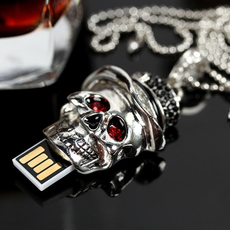 Genuine Capacity USB Flash Drive 8GB 16GB 32GB 64GB, Skull Pen Driver, Gift Disk, Jewelry Pendrive Key