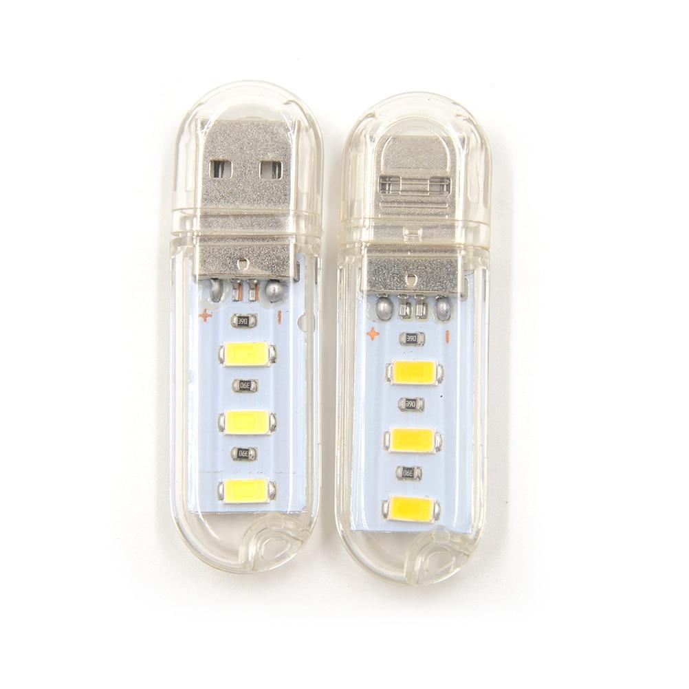 Tubos de bombillas LED de 2 uds., Mini Lámpara USB de 5V CC, 3 luces Led para libros, luces de Camping, luz LED nocturna Usb para PC, portátiles y portátiles para lectura