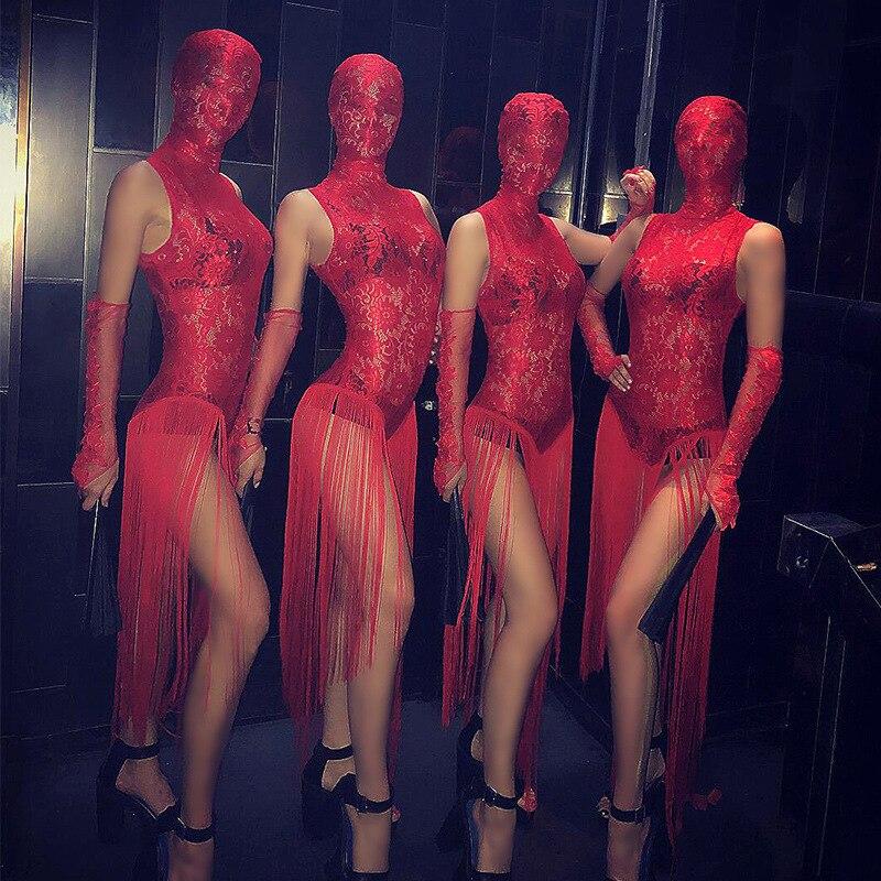 المرأة الجديدة مثير الأحمر شبكة منظور شرابة ارتداءها المغني ملهى ليلي حفلة القطب ملابس رقص مهرجان فرق الأداء ارتداء