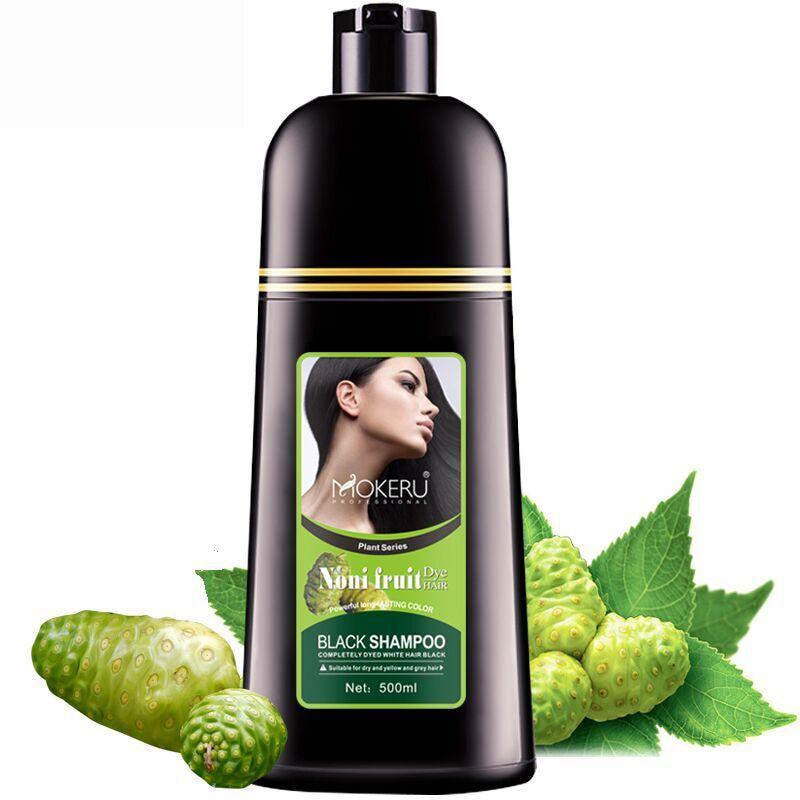 Mokeru 1 pc Natürliche Bio Noni Fruit Extract Schwarz Haar Farbstoff Shampoo Grau Haar Abdeckung Permanent Haar Farbe Shampoo