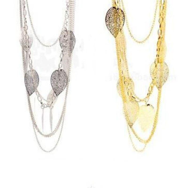 Multi-camadas de folha colares para mulher metal borla colares jewerlry longo camisola corrente colar feminino