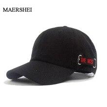MAERSHEI de alta calidad de la marca gorra de visera con letras Gorra de béisbol de algodón para los hombres adultos mujeres Hip Hop sombrero de hueso para papá Garros