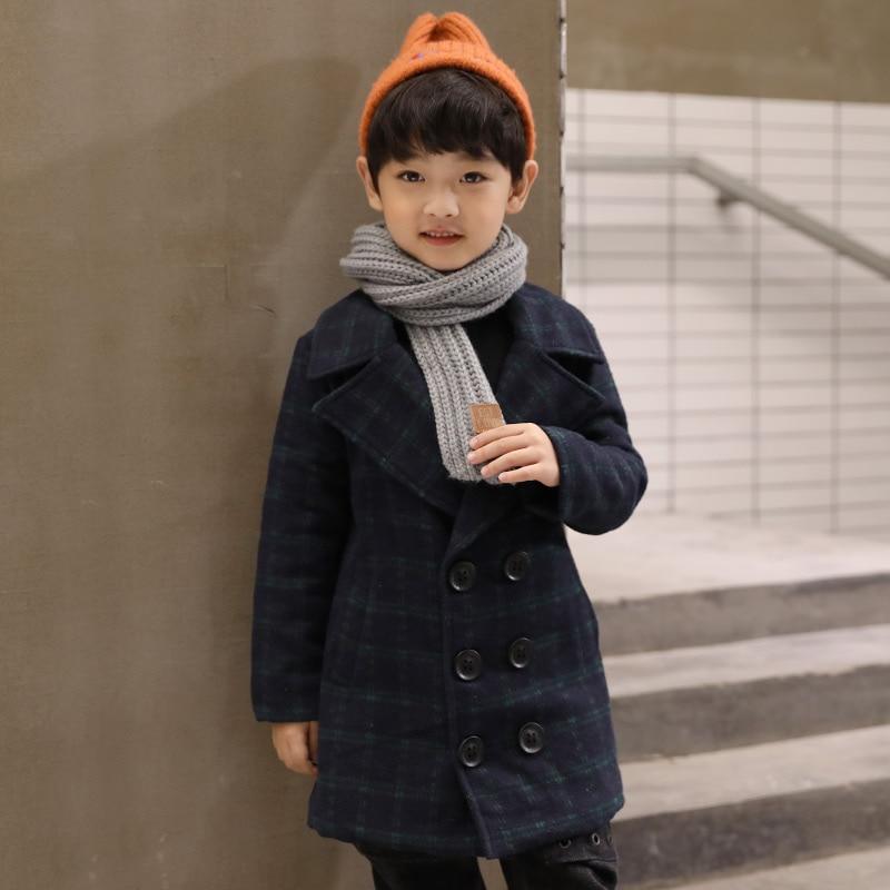 Шерстяное пальто для мальчиков, 2020 шерстяное пальто, детская одежда, осенне-зимняя клетчатая утепленная повседневная шерстяная Верхняя одежда для детей, тренчи, куртки X470-1