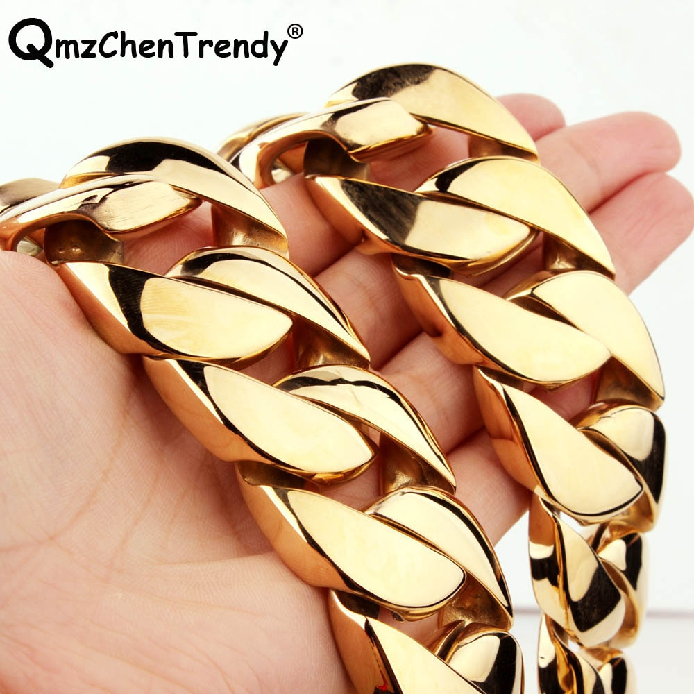 Review 30mm 28inch T Show Super Heavy Curb Cuban Boys Mens Chain Necklace Steel Gold Tone Oversize Stainless Steel Exaggerate Jewelry