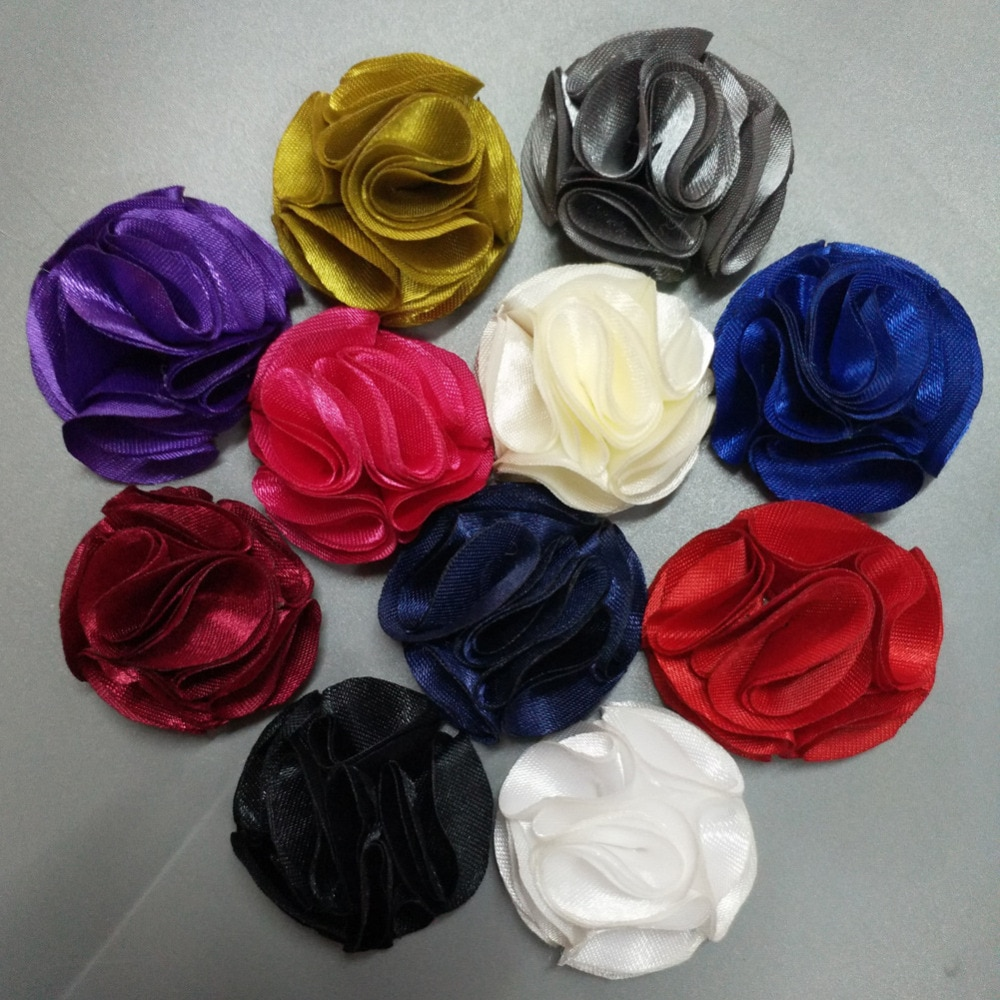 10Pieces/Bag Size 3.5CM Fabric Rose Flower Handmade Satin Flowers Hand DIY Material Wedding Bouquet Women Hair Cloth Accessories