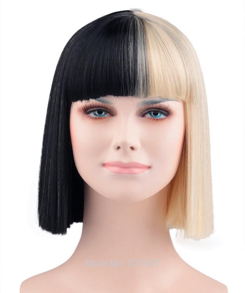 Sia Alive Bangs Trim to eyes Half Black and Blonde Medium Heat Resistant Hair Cosplay Costume Wig + Free Wig Cap