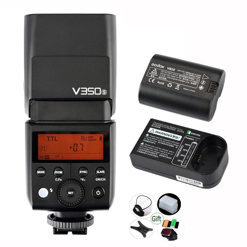 Godox V350S Li-Ion Speedlite + 2000mAh recargable batería TTL 2,4G HSS 1/8000s de luz de Flash para Sony a7RIII a7RII a7R a58 a99