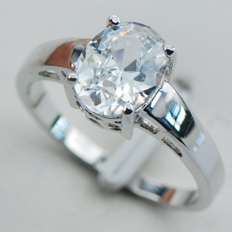 Crystal White Zircon 925 Sterling Silver Wedding Party Design Atraente Tamanho do Anel 5 6 7 8 9 10 11 12 PR13 Min ordem é $10
