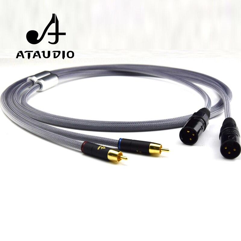 One pair ATAUDIO Hifi 2 RCA Malel to 2 XLR Male Audio Cable High Quality Dual RCA to Dual XLR Cable