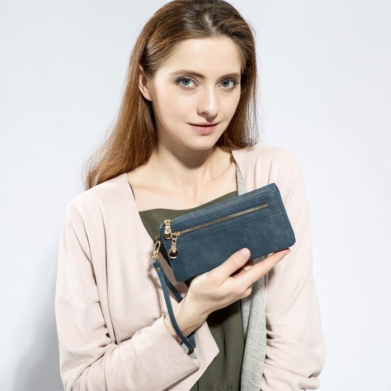 Hohe Kapazität Mode Frauen Geldbörsen Lange Dull Polnischen PU Leder Brieftasche Weibliche Doppel-reißverschluss Kupplung Geldbörse Damen Armband