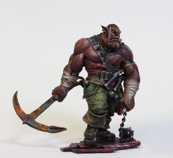 1/24 75mm negro ORC Guerrero soldado con base 75mm juguete resina modelo resina miniatura figura sin montar sin pintar