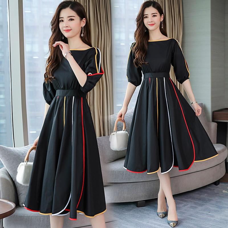 S-XL, корейский стиль, женское платье, ТРАПЕЦИЕВИДНОЕ, офисное, милое, темпераментное, высокое качество, весеннее, однотонное, хлопковое плать...