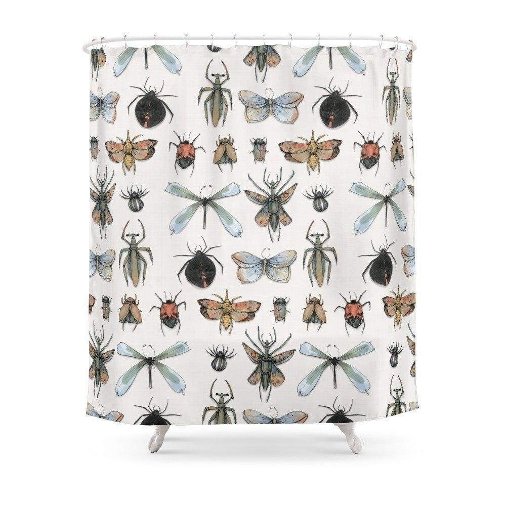 Cortina de ducha de Entomología, estampada de múltiples tamaños Cortina de ducha, impermeable, de poliéster, para decoración de baño, con 12 ganchos