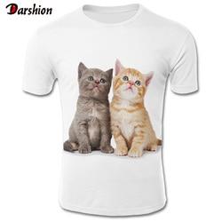2019 nova marca bonito gato branco camiseta masculina/feminina 3d tshirt impressão dois gato manga curta verão topos t camisa masculina 4xl