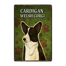 [Kelly66] Cães Corgi Galês Sinal Da Lata do Metal Poster Home Decor Arte Da Parede Bar Pintura 20*30 CM Tamanho y-2206