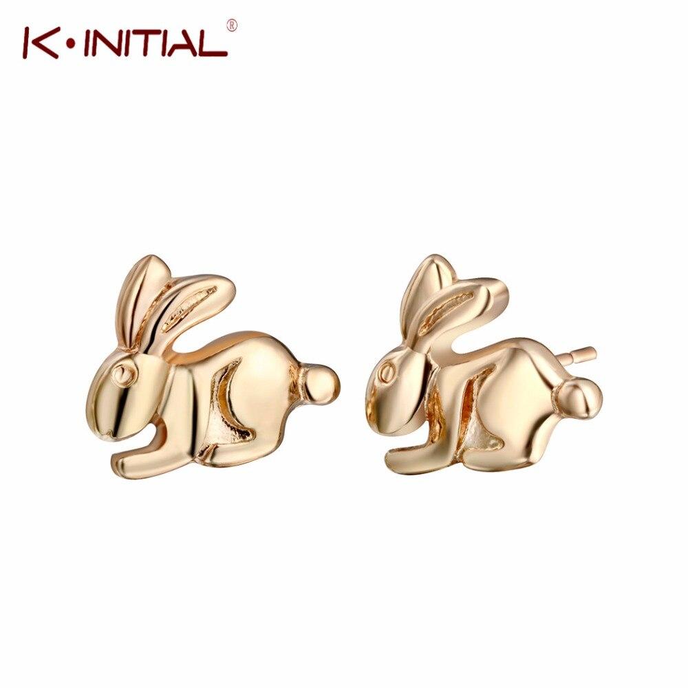 Mini pendientes de conejo Kinitial para mujeres lindo pendiente de conejito joyería para mejor amiga regalo oorbellen Bff Brincos Bijoux