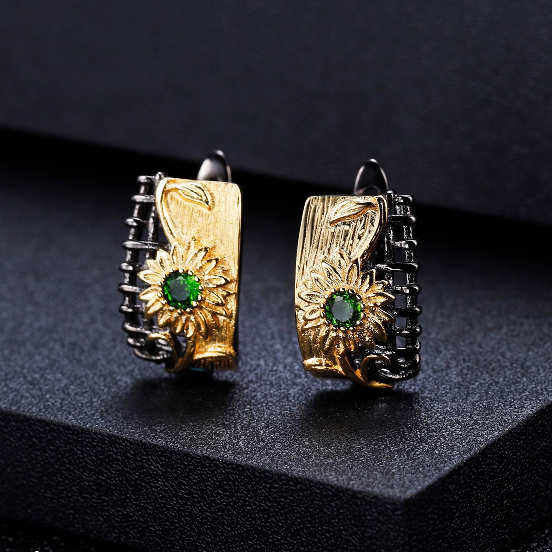 GEM'S BALLET 925 Sterling Silver Handmade Sun Flower Jewelry Set For Women Natural Chrome Diopside Ring Earrings Pendant Sets