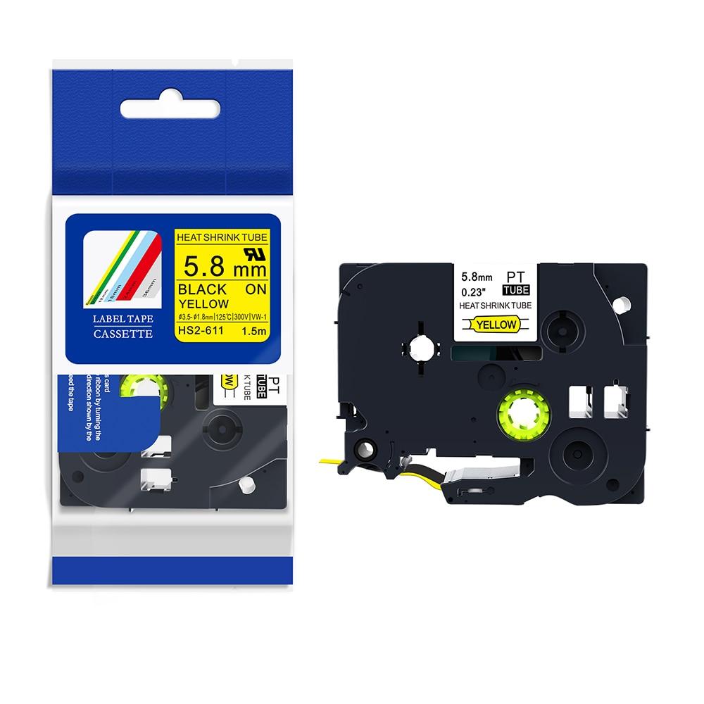 MIX PUTY 5 uds diferentes modelos HSE-611, HSE-621, HSE-631, HSE-641, HSE-651 negro sobre amarillo P-TOUCH PT-H300 cintas termoretráctiles