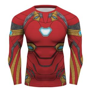 custom camisa Superhero tights top compression shirt long sleeve Ironman Gym tshirt rashguard tshirt men's T shirt Red